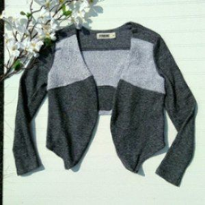 Starling gray terry open front high/low cardigan S